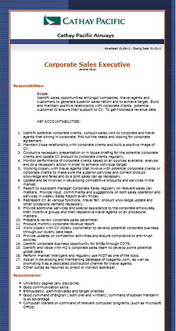Cathay pacific corporate sales executive vacancy forum pramugari - Cathay pacific head office ...