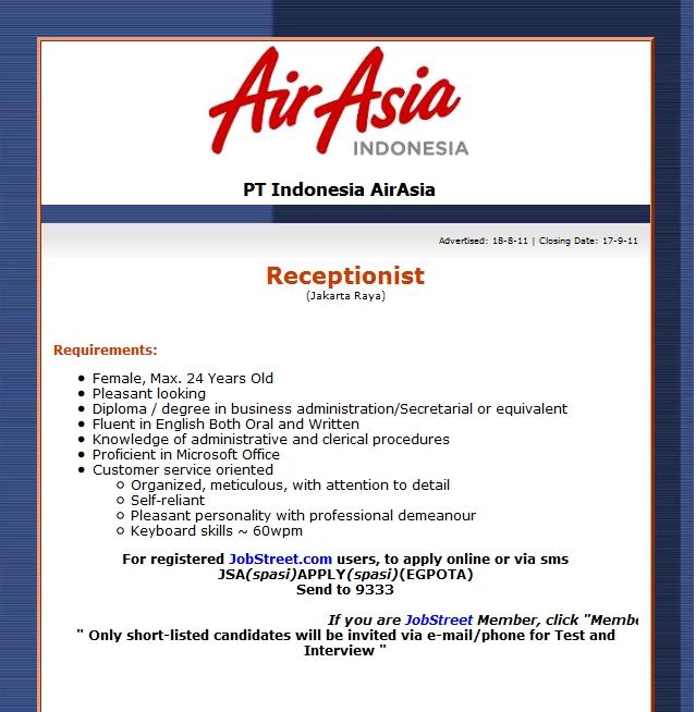 AirAsia Indonesia Receptionist Vacancy  Forum Pramugari