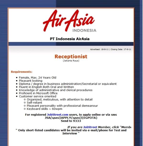 Job Vacancy Receptionist In Indonesia