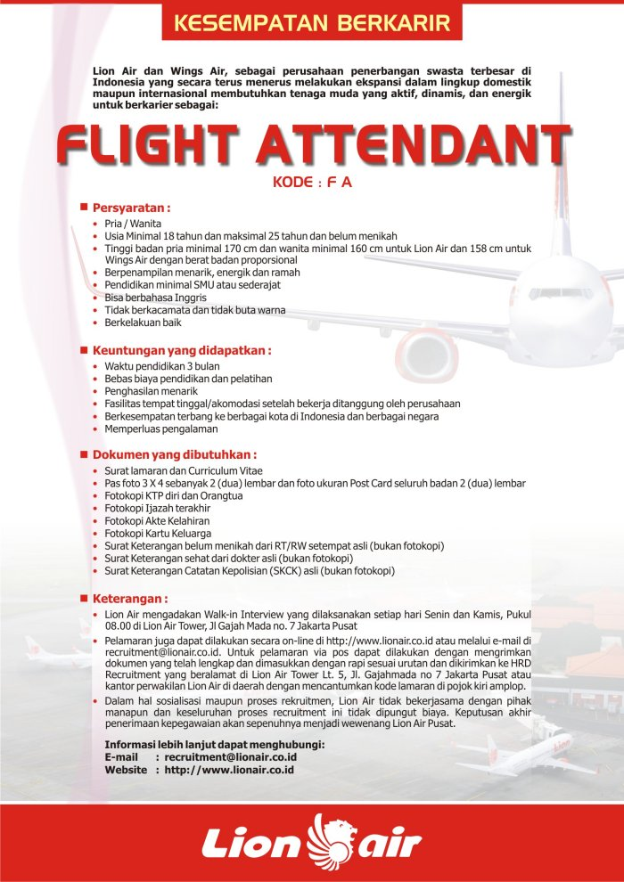 Lowongan Fa Lion Air Wings Air Forum Pramugari