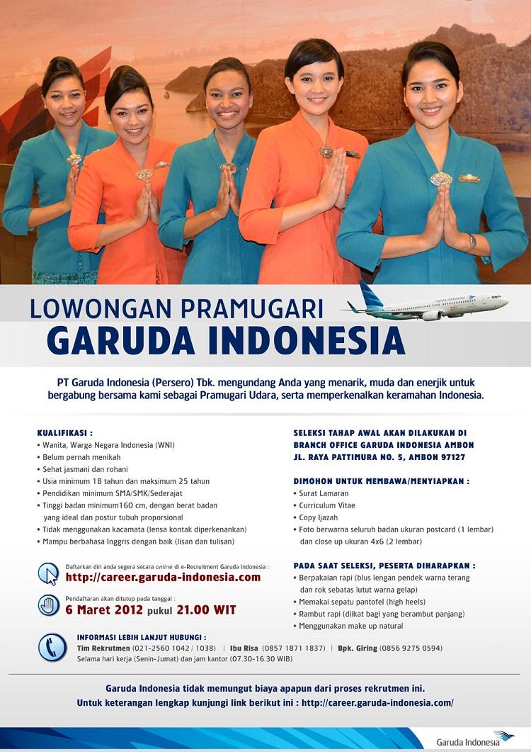 Persyaratan Pramugari Haji Garuda Indonesia 2012