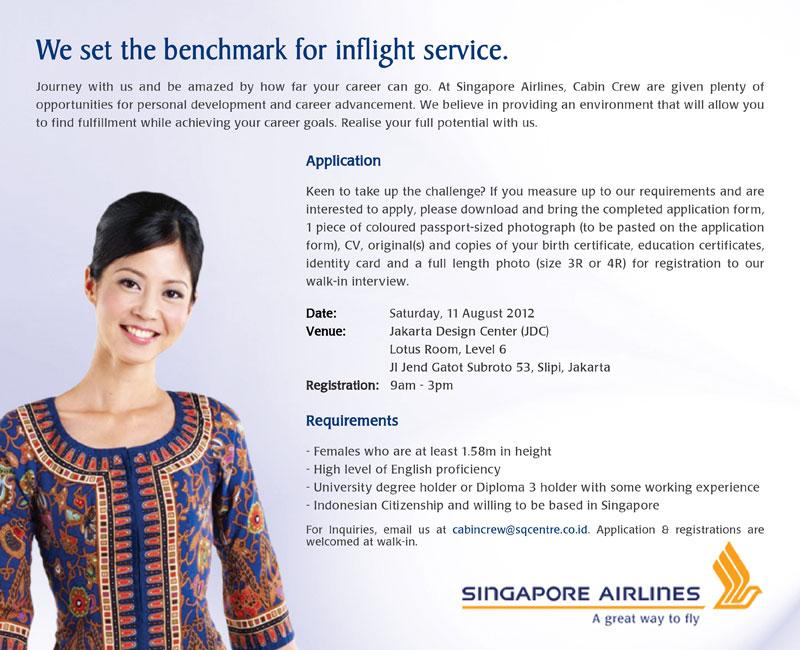 Singapore Airlines Cabin Crew Recruitment August 2012