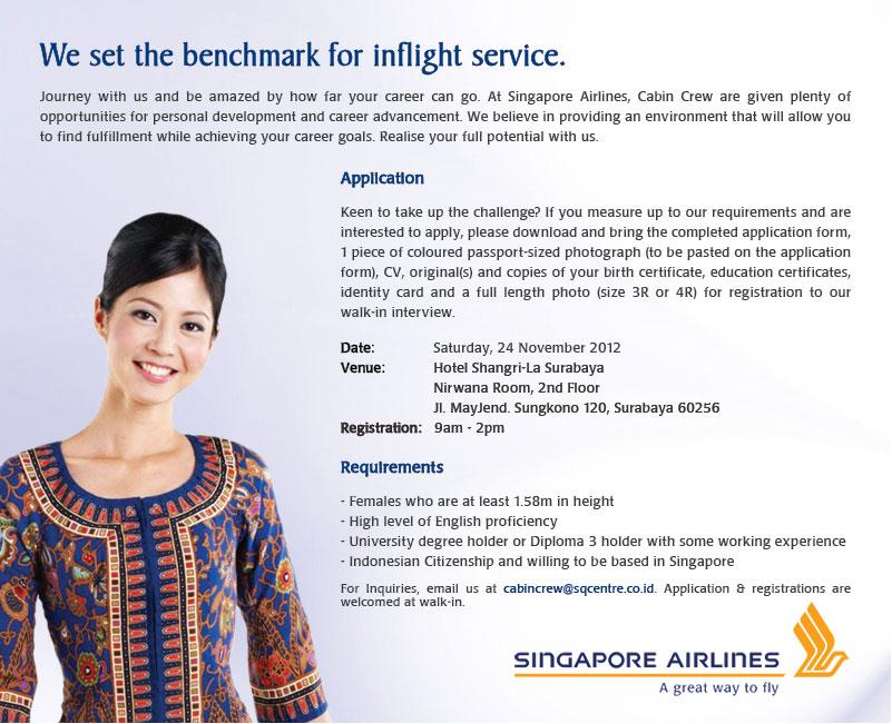 Surabaya Singapore Airlines Cabin Crew Recruitment