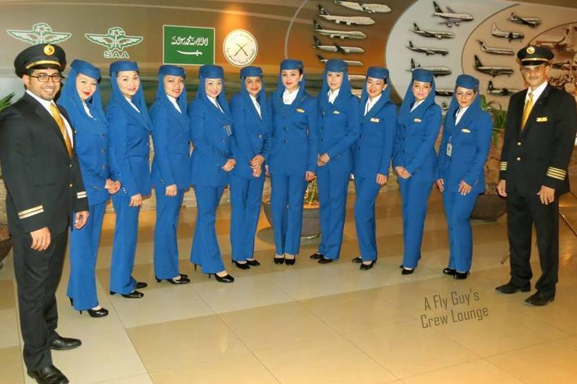 SAUDIA cabin crew in new uniform introduced in June 2014 (dok. A Fly Guy's Crew Lounge)