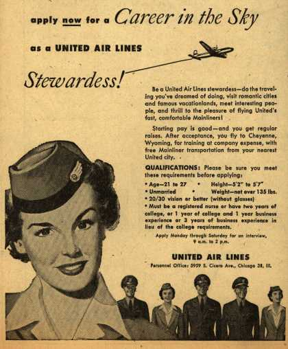Poster lowongan pramugari United di tahun 1950-an. Lajang dan memiliki penglihatan yang baik menjadi salah satu persyaratannya.