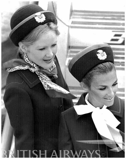 Seragam pramugari British Airways di masa Carole Middleton bekerja di sana.